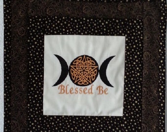 Blessed Be Celtic Pentacle Wall hanging, altar piece, Wiccan, candlemat