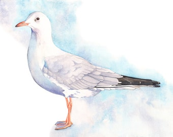 Seagull print of watercolor painting S1816, seagull watercolor painting, contemporary coastal decor, beach house wall art- A4 size