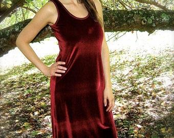 Slip Dress in Velvet / Sleeveless Tank, Racer Back, High-Low Waterfall, Custom Color / Boho Chic