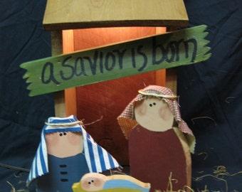 lighted nativity set
