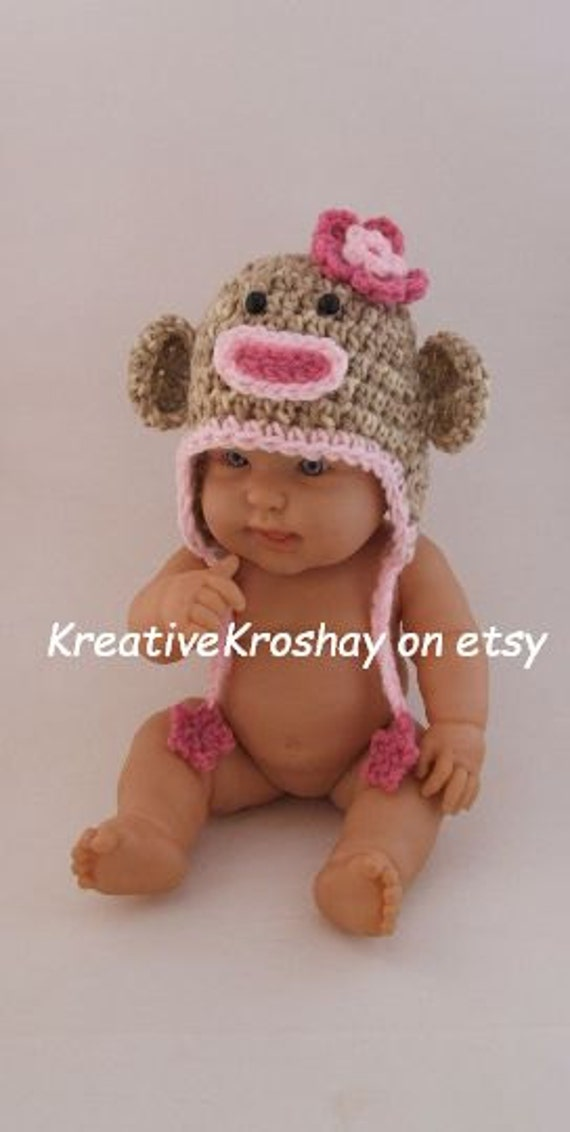 Girly Sock Monkey Hat w/ Pink Flowers (available in Newborn / 3-6 Months sizes)