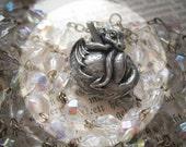 Baby Dragon Crystal Rosary Necklace with Vintage Aurora Borealis.