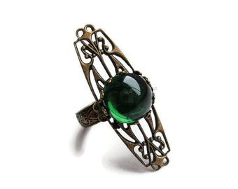 Absinthe Green Vintage Brass Adjustable Art Nouveau Unisex Ring