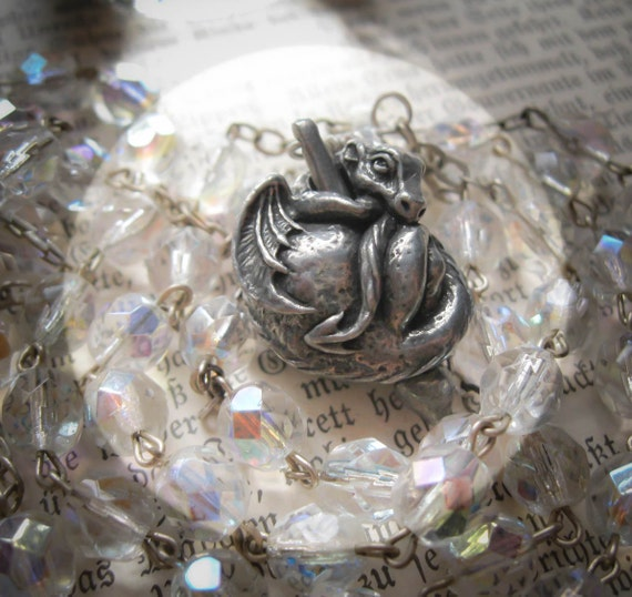 Baby Dragon Crystal Rosary Necklace With Vintage Aurora