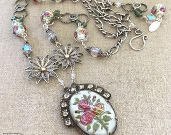Handmade Unique Assemblage Necklace - Rhinestone Assemblage Necklace - Antique Flower Necklace - Unique Assemblage Necklace