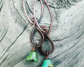 Copper And Glass Flowers Earrings