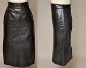 SALE!!! Selene Leather Skirt   vintage 80s butter soft black leather skirt   high waist, seam details S/M