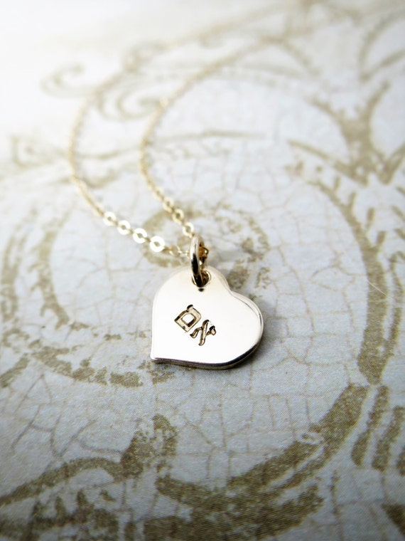 Hebrew Mother Necklace - Em Necklace - Gold Fill Heart - Heart Pendant - Hebrew Heart Necklace - Gold Fill Jewelry - Hand Stamped - Engraved