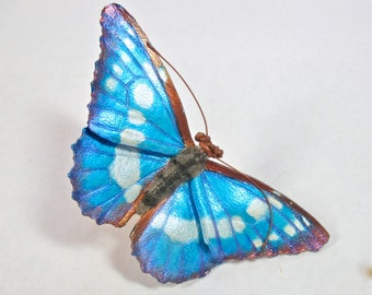 Leather Morpho helena butterfly brooch