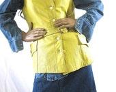 on sale Vintage Leather Vest, Yellow Leather, Vintage Jacket, Mod Belted Vest, Button Down Vest, Leather Vest, Vest with Pockets