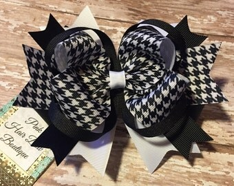 Black and white hair bow , houndstooth hair bow , big hair bow , stacked hair bow , black and white blow , 5 inch hair bow