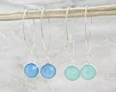 Silver Gemstone Earrings - Silver Earrings - Dangle Earrings - Long Earrings  - Drop Earrings