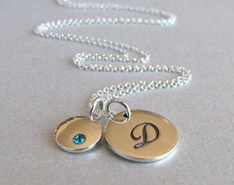 Initial and Birthstone Necklace - Initial Necklace - Birthstone Necklace - Personalized Necklace