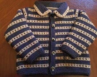 Cashmere Merino Silk Blend Hand Knitted in Scotland  Baby Boy  Jacket / Sweater age 9 - 18 months