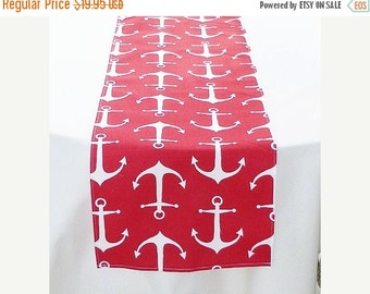 ON SALE Nautical Table Runner Red