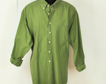 Vintage Mens Green XL Shirt J.Crew Dark Olive Green Heavy All Cotton Oxford Button Down Collar