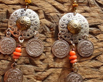 Moroccan red hand engraved  large tarnished coin bead  earrings with silver hooks