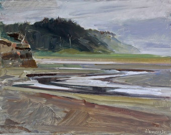 Roosevelt Beach - Gray Day Painting - Low Tide-Boone Creek