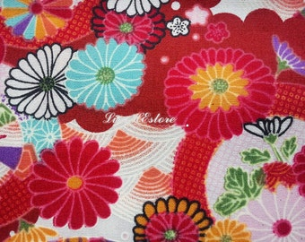 SALE - Japanese daisy and motif, red, 1/2 yard, pure cotton fabric