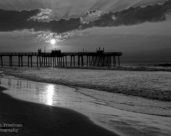 Sunrise at the New Jersey Shore, Black and White Photograph, Margate Pier, Beach Decor, Ocean, Summer Morning, Landscape, Sky, Art Print