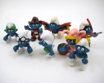 Vintage 1980s Smurfs - Smurfette Easter Bunny, Frogman, Cowboy, Hang Glider Smurf - Peyo Schleich PVC Figure - Lot of 8