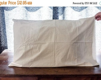 ON SALE Vintage Pillowcase, White with crocheted edges, pre-1940s bed linens