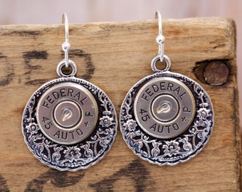 Choice 45 Auto Bullet Earrings-Winchester 45 Auto Bullet Earrings-Federal 45 Auto Jewelry-Remington 45 Auto Earrings-45 Auto Dangle Earrings
