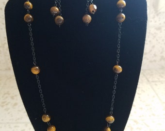 Tigers eye beads and black chain, necklace and earring set, Tigers eye beads, black chain, jewelry set, no clasp, earrings, necklace
