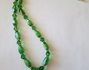 Green and silver beaded necklace, lampwork pendant, green and silver, green lampwork pendant, necklace,handmade necklace,silver spacer beads