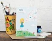 Happy Birthday Card, Girl, Flowers, Blue Skies - Free Postage