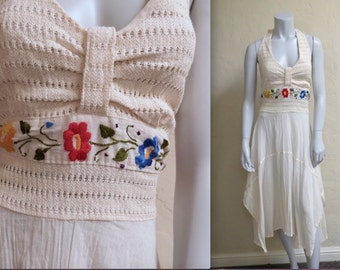 Vintage 1970s Gauzy Embroidered Mexican Wedding Festival Halter Dress S