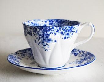 Royal Albert Dainty Blue Teacup and Saucer / Vintage Tea Cup and Saucer