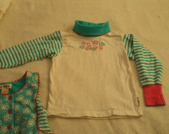 GYMBOREE Turtleneck Long SleeveShirt Turquoise and White Striped Sleeves Pink and Turquoise Flowers Pink Ribbed Cuffs All Cotton Girls Shirt