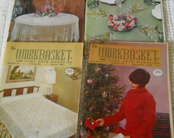Vintage WORKBASKET And Embroidery Magazines From 1960's Crafts Sewing Patterns Iron- On Transfers from Coats & Clark Embroidery Supplies