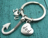 I love you dad keychain, fathers day gift, fathers day fishing gift dad gift from kids, gift for dad husband, dad birthday gift love fishing