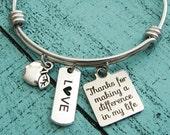 gift for teacher, thank you teacher gift, mentor gift, teacher bracelet, teacher appreciation gift, personalized, teacher retirement gift