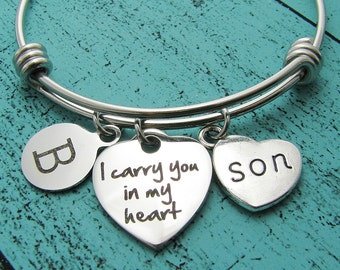 son memorial gift, loss of son, sympathy gift son, I carry you in my heart memorial bracelet, in loving memory son, remembrance jewelry