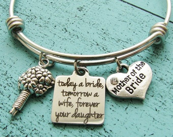 mother of the bride gift, wedding gift for mom, bridal gift for mom from daughter, today a bride tomorrow a wife forever your daughter