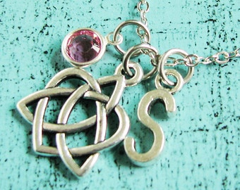 Celtic heart necklace, bridesmaid gift, romantic gift, bridal party gift, wedding jewelry, bridesmaid personalized necklace, Celtic knot