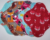 Set of 6 Flannel  panty liners with wings 8 inches in Fox prints