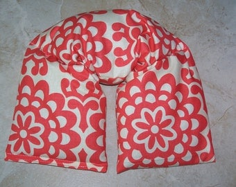 Neck & Shoulder Wrap  Pillow, Flax seed pillow - Heating Pad Ice Pack-Flax seed therapy pillow Wallflower - Cherry Amy Butler
