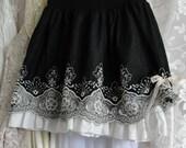 Black lace skirt, romantic, gypsy boho, bohemian, mori girl, french chic