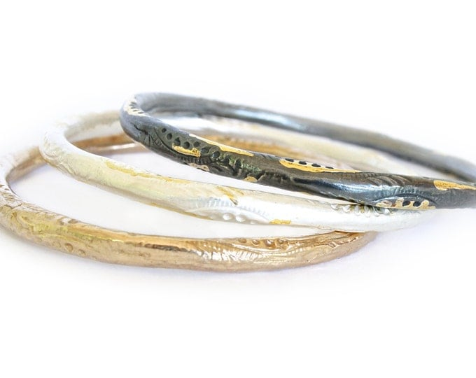 Peacock Bangle Bracelet- bronze or silver with 22k accent