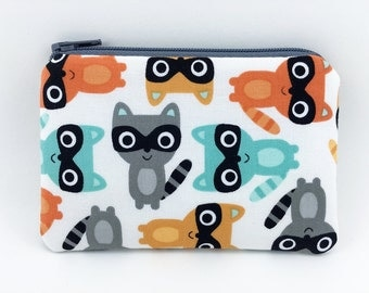 Raccoon Coin Purse, Little Zipper Pouch, Wallet Pouch, Change Purse, Gift idea, Gray, Padded