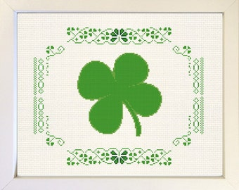 Shamrock cross stitch pattern. St. Patrick's Day. Irish pride. Four leaf clover. PDF Instant download. Wall decor. Home decor. Lucky irish.