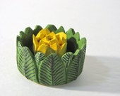 Natural wood painted, embellished, lotus flowers and leaves incense holder stand