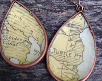 Vintage Florida Keys Nautical Chart Map Copper Dangle Drop Earrings