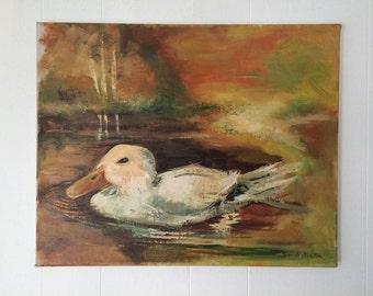 Vintage duck painting / retro art / oil painting
