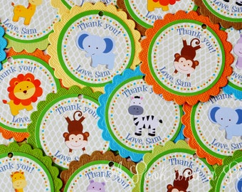 Jungle Safar Favor Tags or Stickers - Set of 12