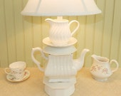 White Teapot Lamp, Single Square Teapot with Swirled Cream Pitcher, Alice in Wonderland Shabby Chic Cottage Nursery